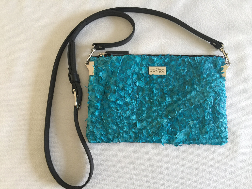 Sancha crossover shoulder bag/clutch featuring San Andre's blue in ruffled barramundi leather