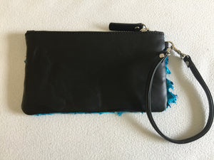 Ella purse with San Andre's blue ruffled barramundi leather
