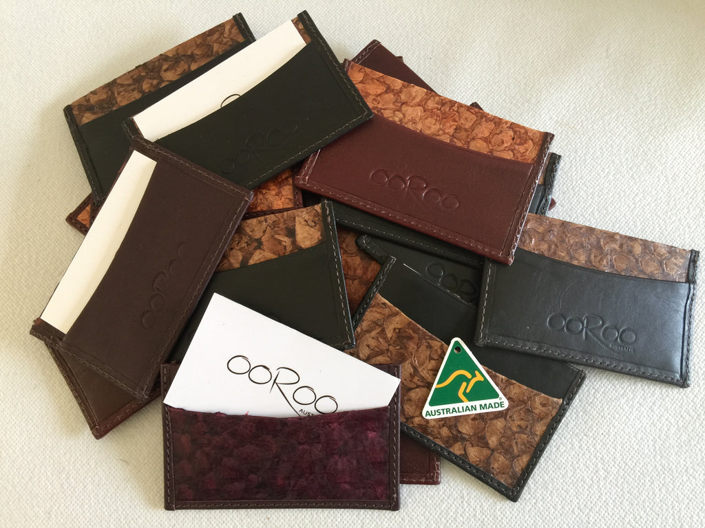 Saltwater barramundi leather credit card wallet
