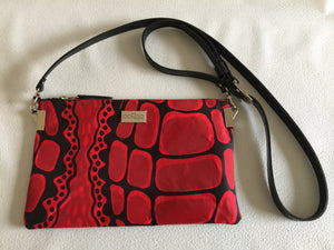 Sancha crossover shoulder bag/clutch featuring Crocodile by artist Aaron McTaggart, Merrepen Arts