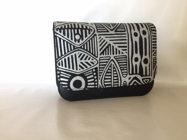 Meg cross body Handbag/ small Clutch featuring Stone Axe by Aboriginal artist Danny Mankara, Tiwi Designs (Sample Stock)