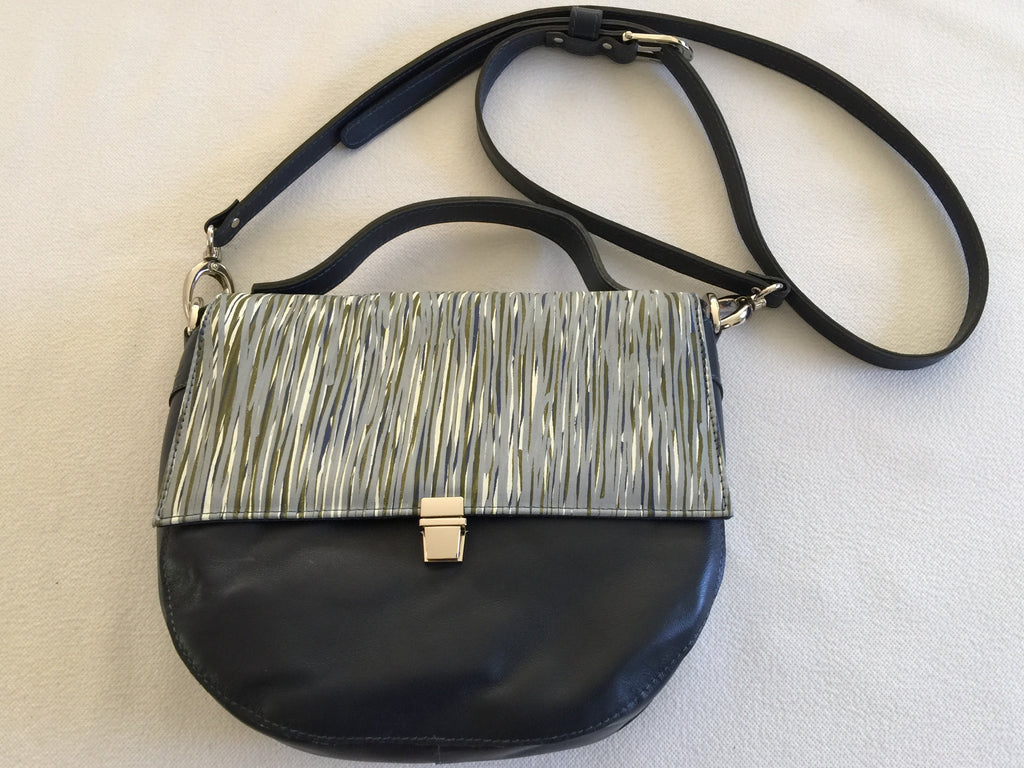 Alice Handbag/shoulder bag in navy leather featuring Yerggi (Pandanus) by artist Kieren( Karritpul) McTaggart, Merrepen Arts