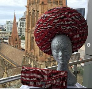 "Possum Ball Millinery""Eminence"" featuring Fish Trap by Aboriginal artist Kieren Karritpul McTaggart"