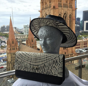 "Possum Ball Millinery ""Fedora"" Featuring  Fog dreaming by Aboriginal artist Marita Sambono Merrepen arts"