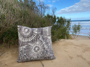 Ooroo Australia cushion featuring Fog Dreaming a silk-screened design by Aboriginal artist  Marita Sambono Merrepen Arts NT