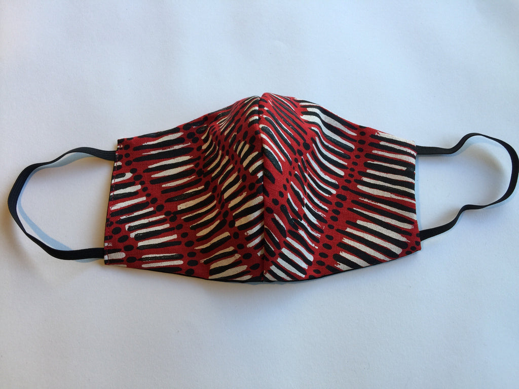 Face mask featuring Fish trap by Aboriginal artist Kieren McTaggart Merrepen arts.
