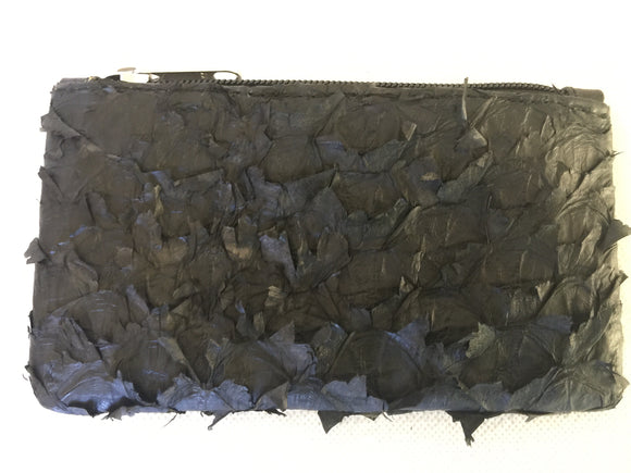 Lily purse featuring black ruffled barramundi from the kimberly WA