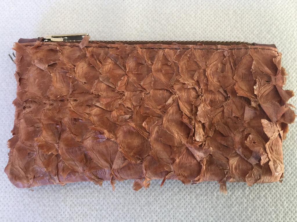 Coin purse featuring golden brown ruffled barramundi from the Kimberly WA
