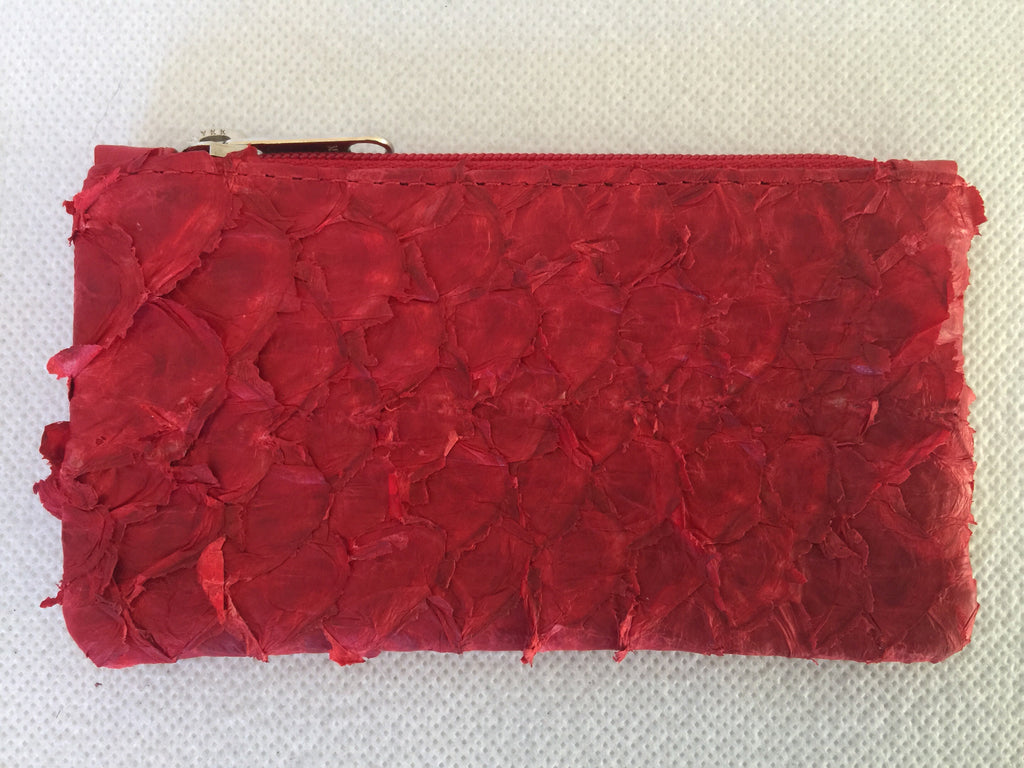 Coin Purse featuring ruffled red barramundi leather from the Kimberly WA