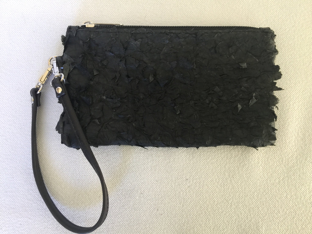 Ella purse featuring  black ruffled barramundi from the Kimberly WA