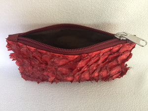 Lilly Purse featuring rose red ruffled barramundi leather