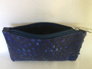 Lily purse featuring ocean blue barramundi leather from the Kimberly WA