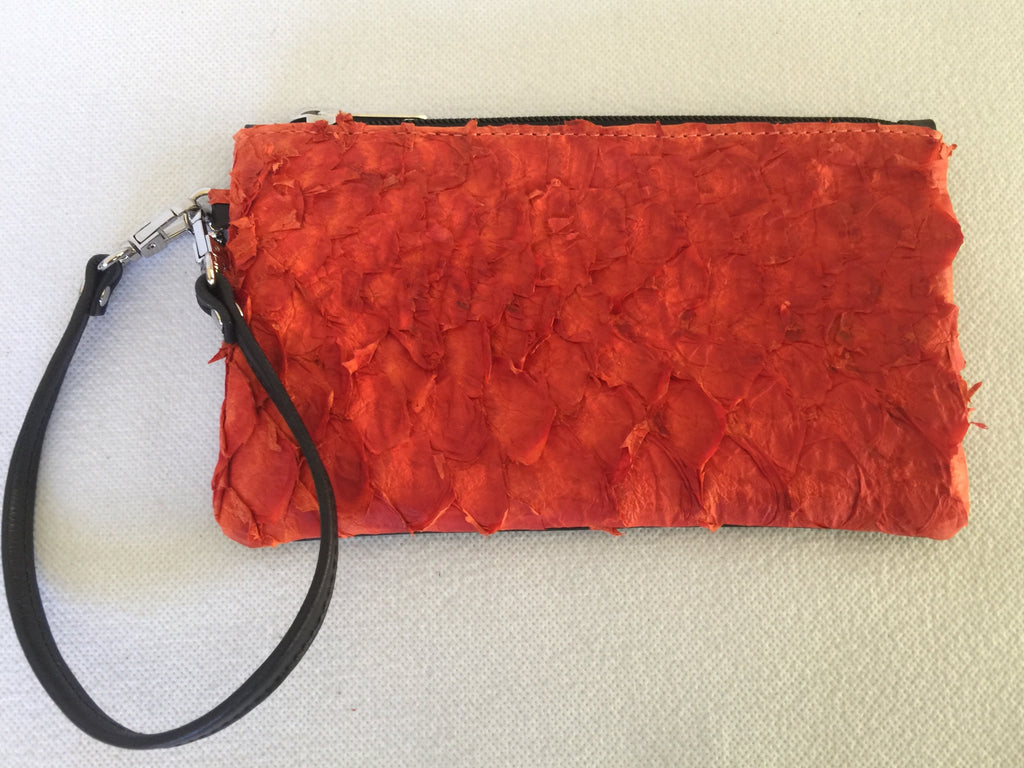 Ella purse featuring orange ruffled barramundi from the Kimberly WA