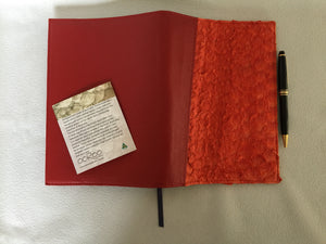 Diary / notebook  cover featuring ruffled Barramundi leather