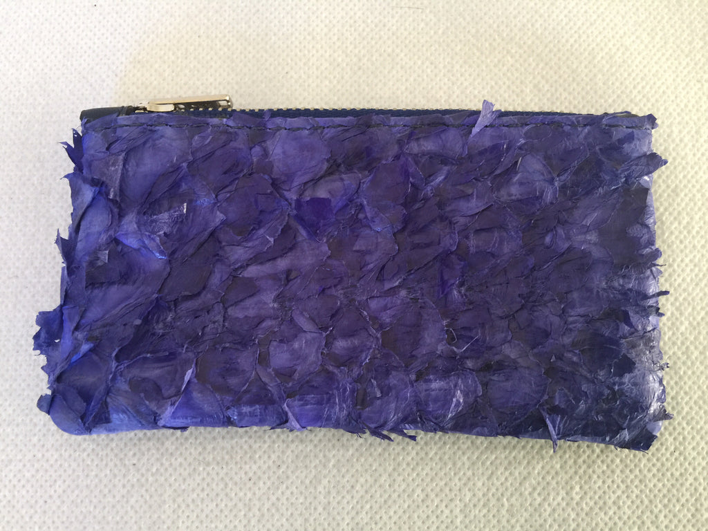 Coin purse featuring violet ruffled barramundi from  the Kimberly WA