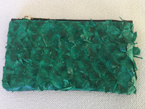 Coin purse featuring green ruffled barramundi leather from the Kimberly WA