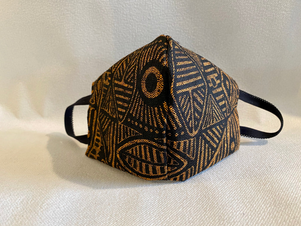 Face mask featuring Stone Axe screened on Raw silk , Aboriginal artist Danny Mankara - c1978, Tiwi Designs