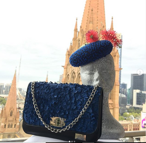 "Possum Ball Millinery ""Peaka Blue"" featuring Australian bottle brush"