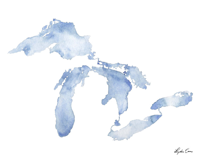great lakes map blue watercolor art print