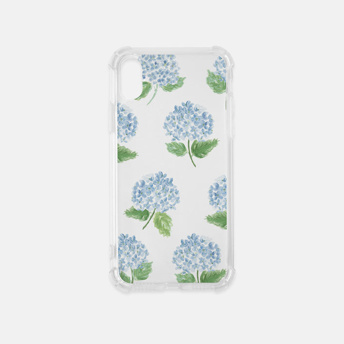 preppy blue hydrangea clear iphone case