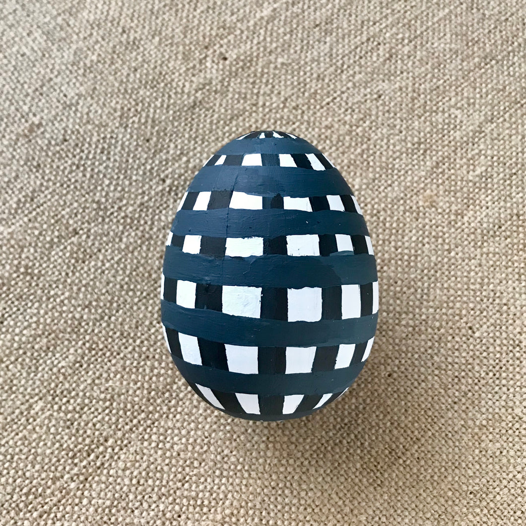 Navy Gingham Easter Egg