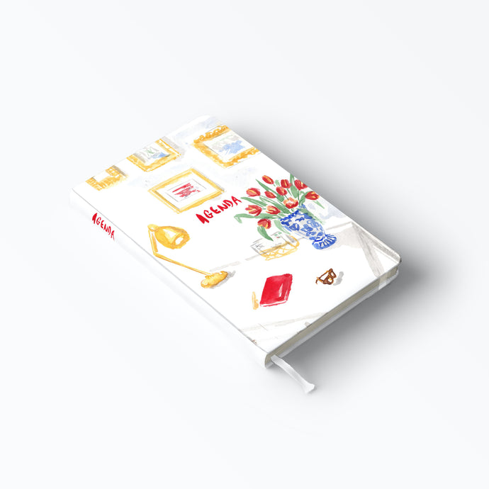 Desktop with Tulips Illustration Notebook