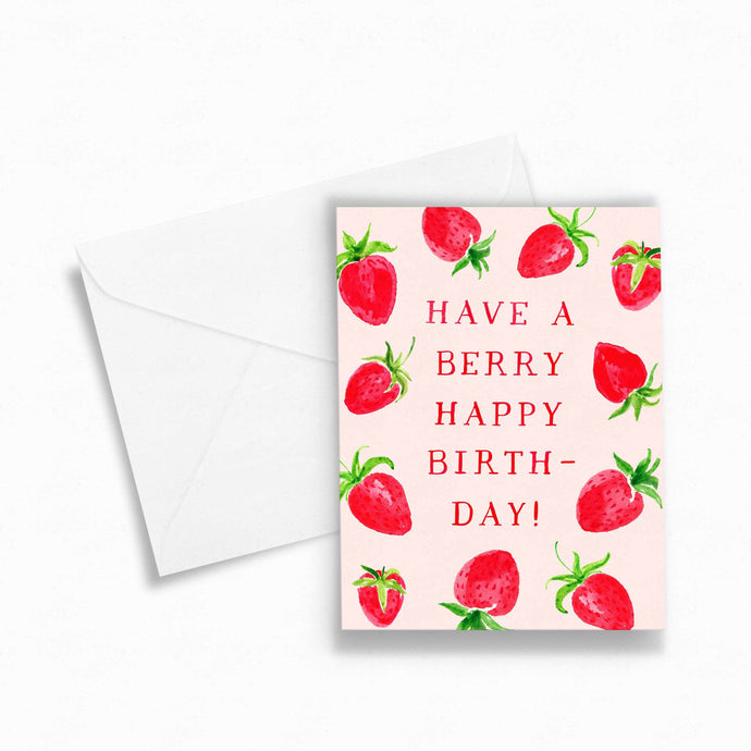 berry happy birthday strawberry card