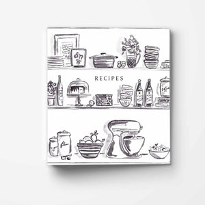 Black Kitchen Shelves 3-Ring Recipe Binder