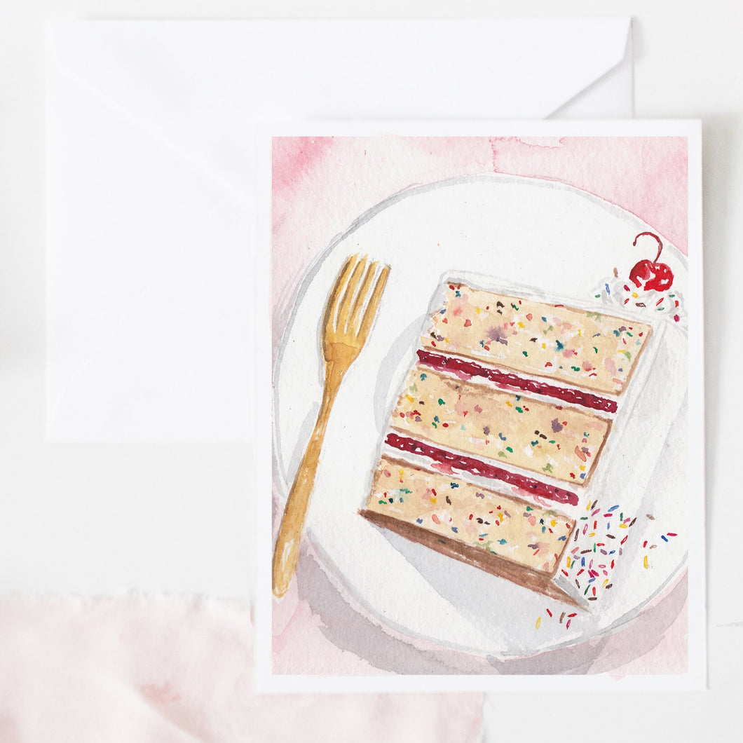 Cake Slice with sprinkles and cherry watercolor birthday card
