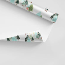 Load image into Gallery viewer, blue retro christmas trees wrapping paper the illustrated life