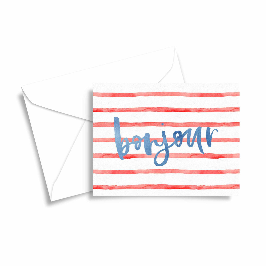 preppy watercolor stripes bonjour french greeting card