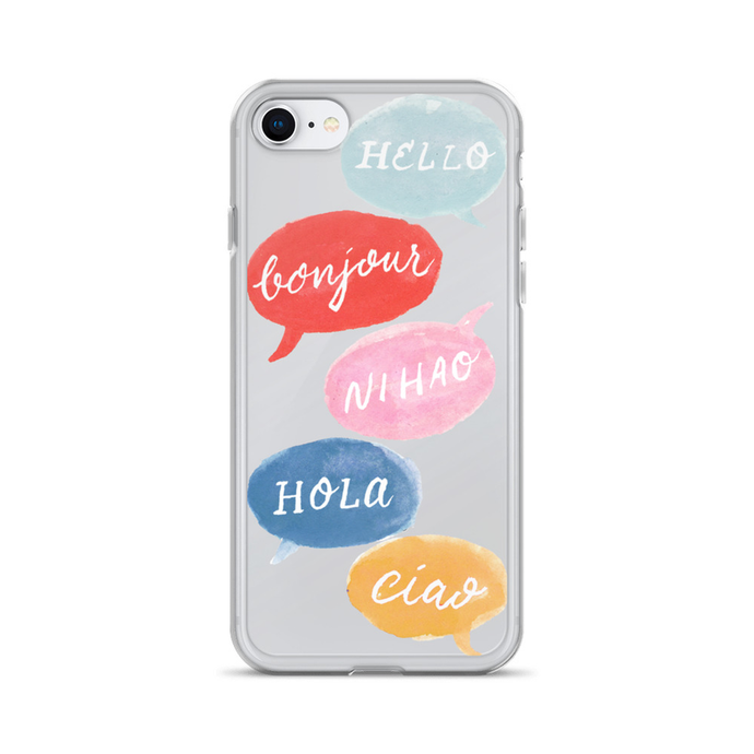 Hello, Bonjour, Ni Hao Clear iPhone Case