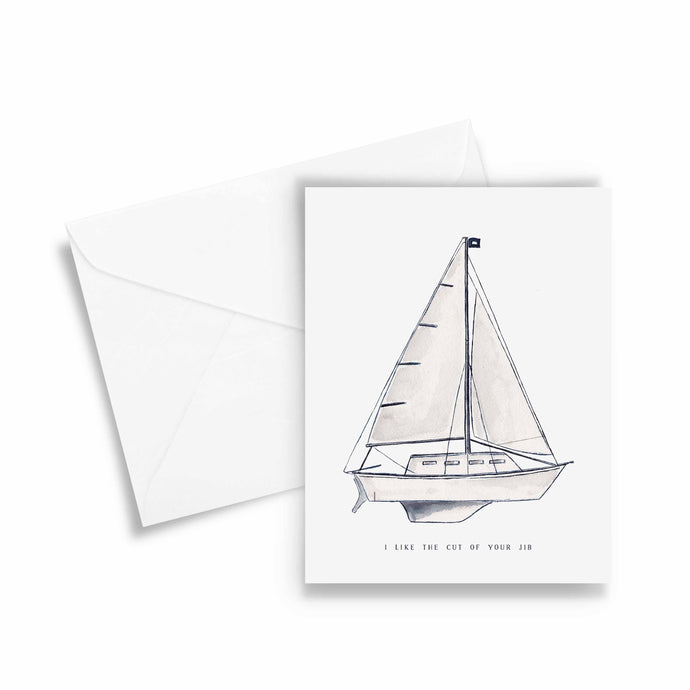 cut of your jib sailboat theme friendship card