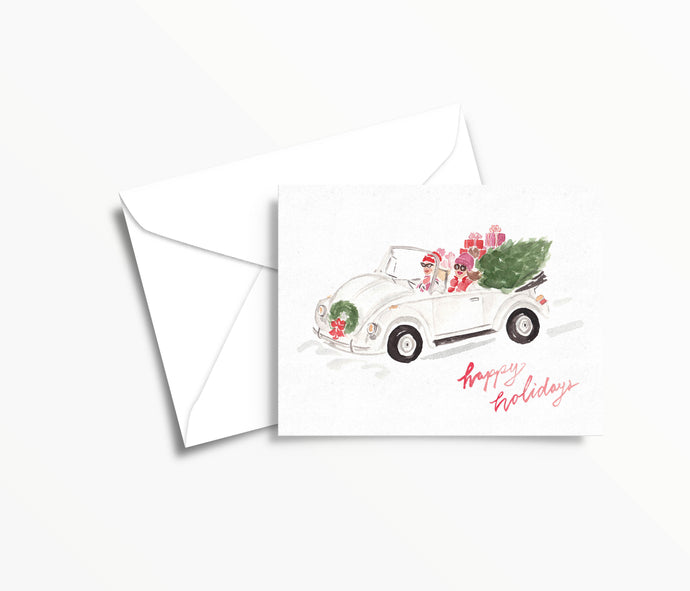girly vintage bug watercolor christmas greeting card