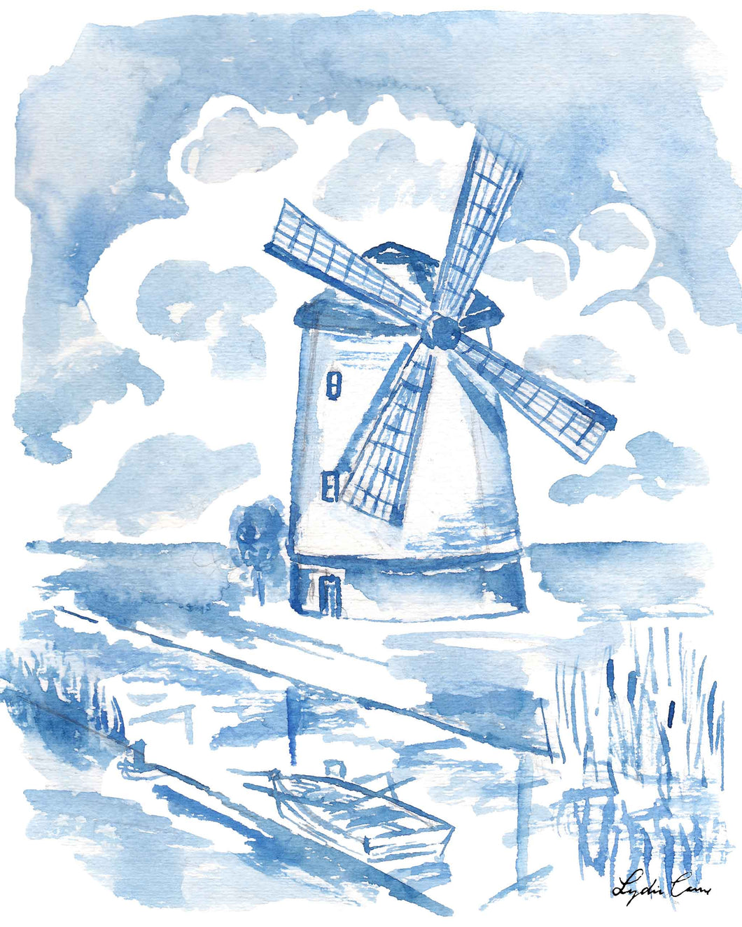 delft blue windmill watercolor art print