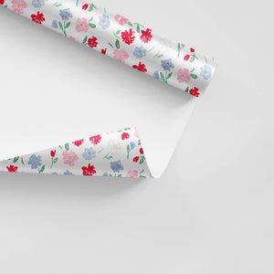 dainty summer floral red blue pink watercolor rolled