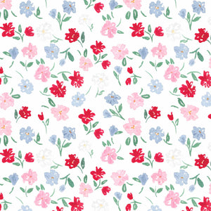 dainty summer floral red blue pink watercolor