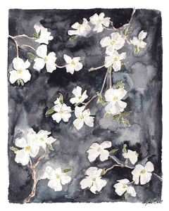 dogwood watercolor floral art print