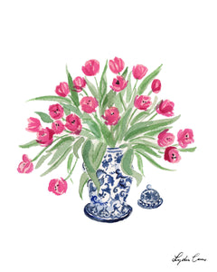 Chinoiserie Ginger Jar with Tulips Art Print