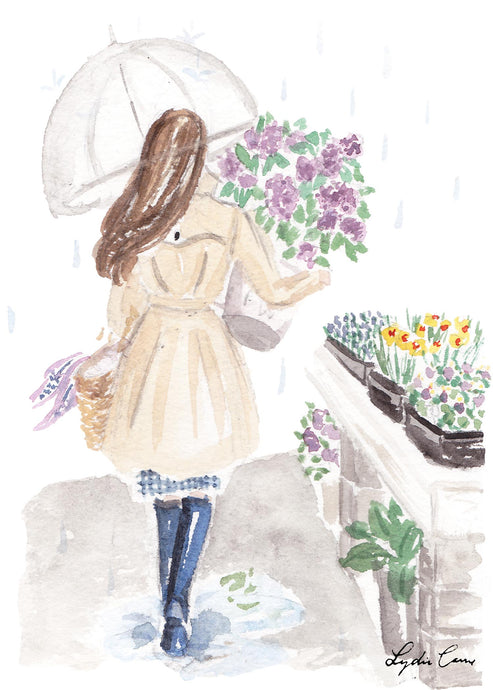 girl with lilacs art print
