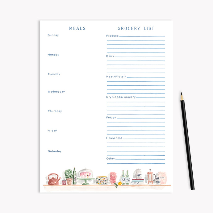 Kitchen Shelves Menu Planning Notepad