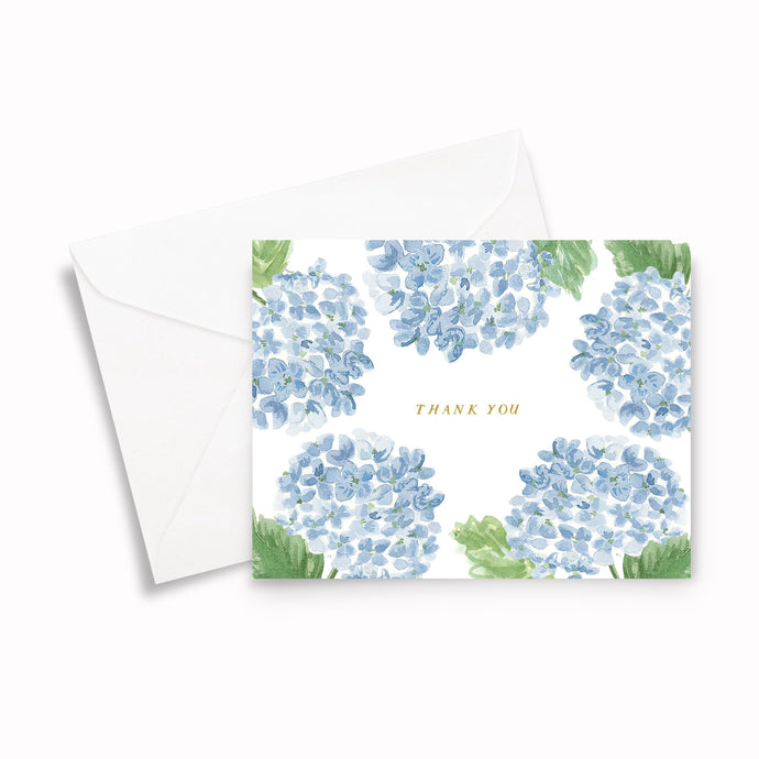 watercolor hydrangea folded thank you notes