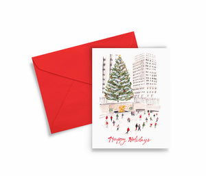 Ice Skaters Holiday Greeting Card
