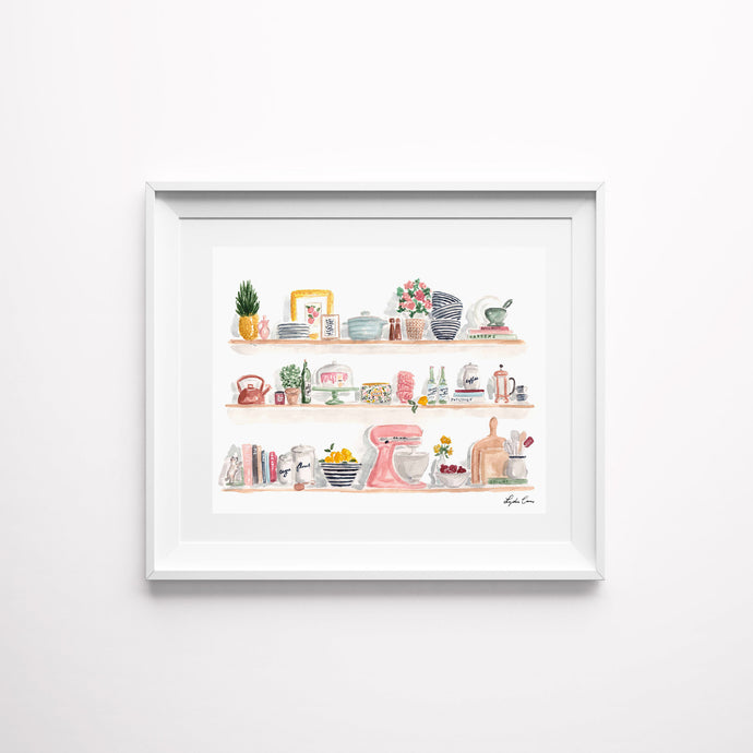 kitchen shelf art print