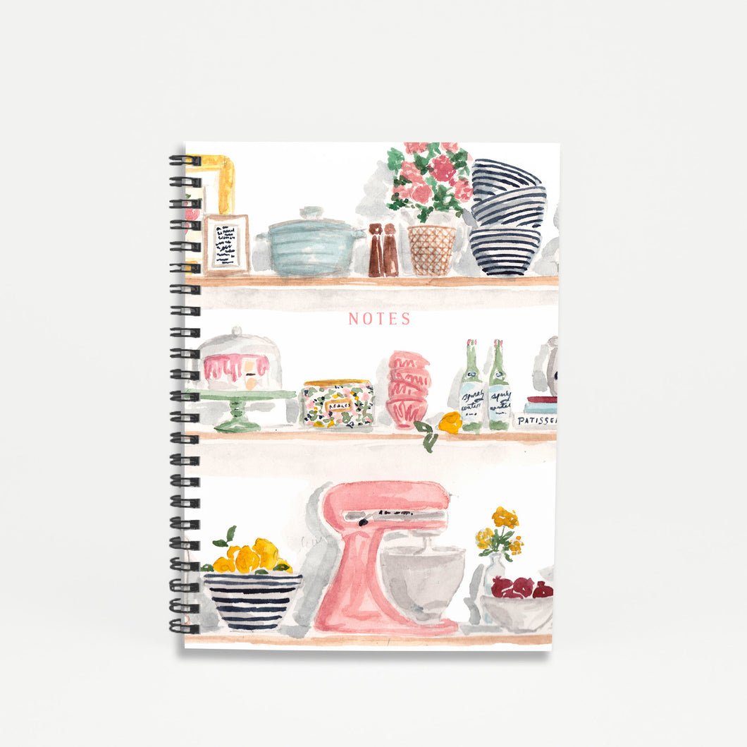kitchen shelves recipe notes spiral hardcover notebook