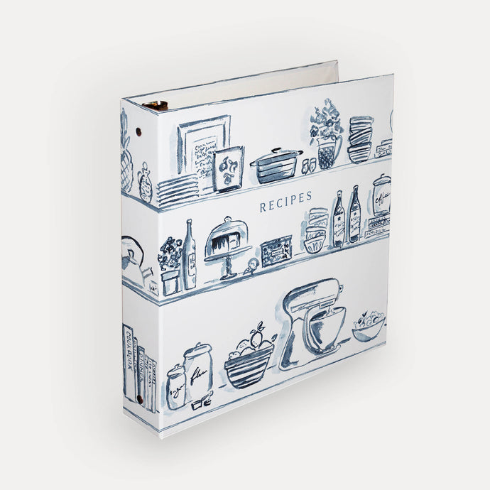 Blue Kitchen Shelves 3-Ring Recipe Binder