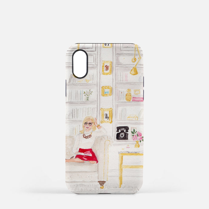 Library Girl phone case fashion illustration