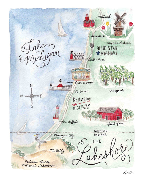 Michigan Lakeshore Map Art Print