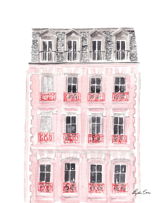 Pink Paris House Art Print