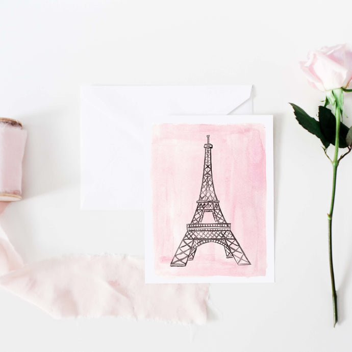 Pink Eiffel Tower Notecard